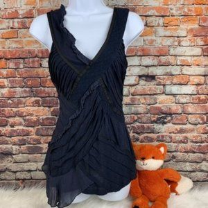 Meadow Rue Anthro black sleeveless textured top XS